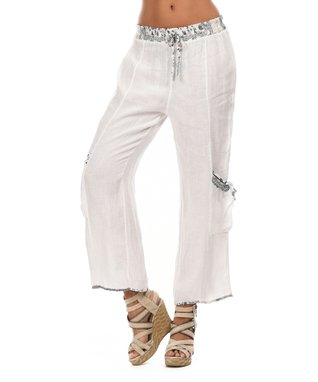 White Two-Pocket Tie-Waist Soft Pants