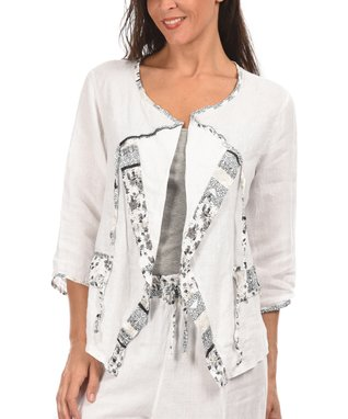 White Three-Quarter Sleeve Open Cardigan