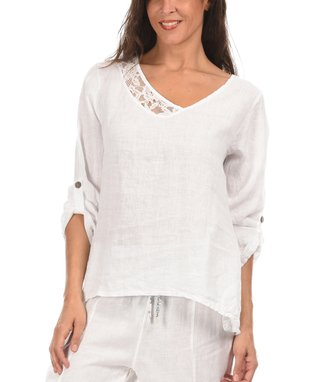 White Lace Trim Asymmetric Top