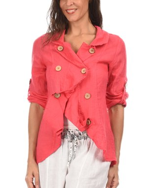 Taupe Asymmetric Button-Up Jacket