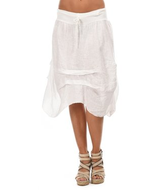 White Ruched Sidetail Midi Skirt
