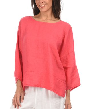 Coral Three-Quarter Sleeve Open Cardigan
