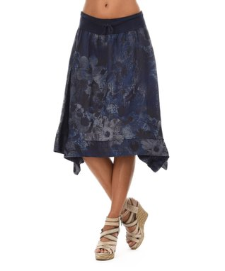 Navy Blue Floral Sidetail Skirt