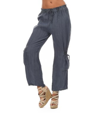Blue Two-Pocket Tie-Waist Soft Pants
