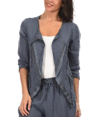 Blue Three-Quarter Sleeve Open Cardigan