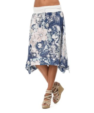 White Floral Sidetail Skirt