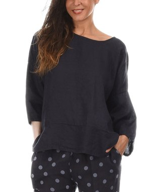 Navy Blue Three-Quarter Sleeve Sidetail Top