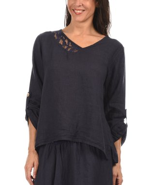 Navy Blue Lace Trim Asymmetric Top