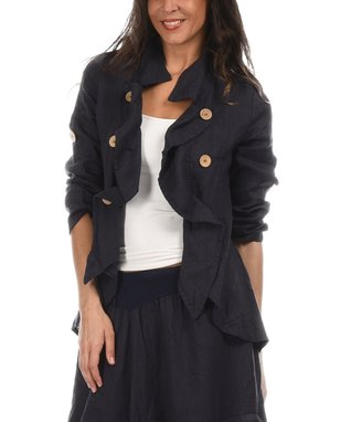 Navy Blue Asymmetric Button-Up Jacket