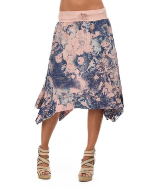 Light Pink Floral Sidetail Skirt