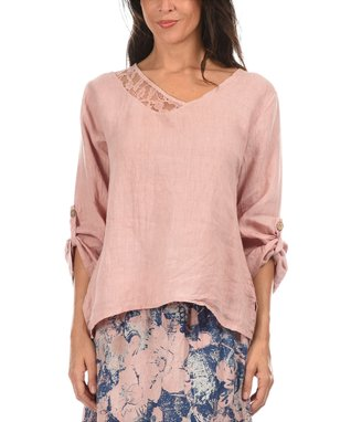 Light Pink Lace Trim Asymmetric Top