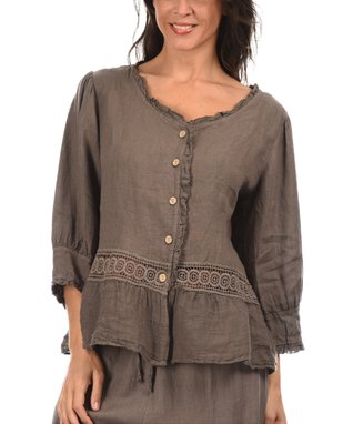 Taupe Lace Panel Scoop Neck Button-Up