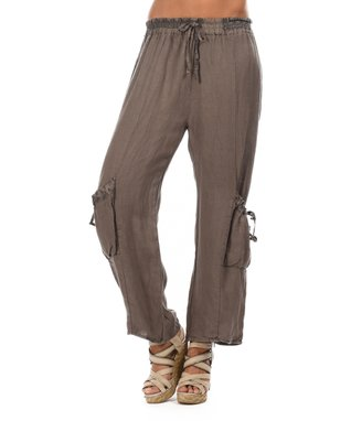 Taupe Two-Pocket Tie-Waist Soft Pants