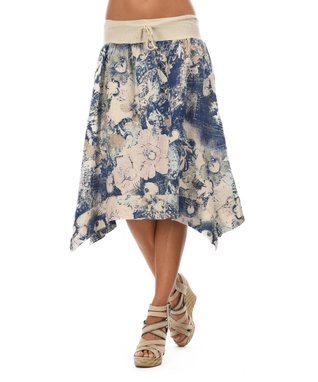 Beige Floral Sidetail Skirt