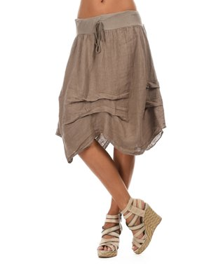 Taupe Ruched Sidetail Midi Skirt