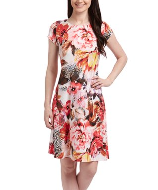 Shelby & Palmer Cream & Pink Floral Cap-Sleeve Dress - Women