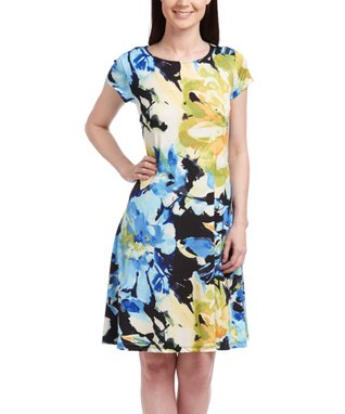 Shelby & Palmer Yellow & Blue Floral Cap-Sleeve Dress - Women