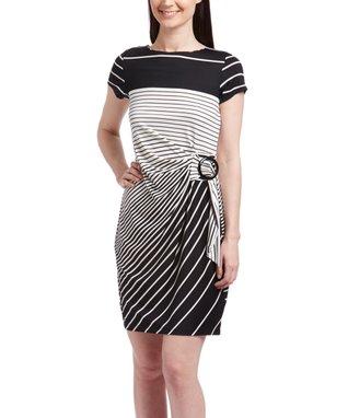 Shelby & Palmer Black & White Wavy Bodycon Dress - Women