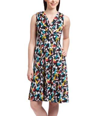 Shelby & Palmer Black & Yellow Abstract Surplice Dress - Women