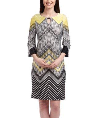 Shelby & Palmer Black & Yellow Chevron Tunic Dress - Women