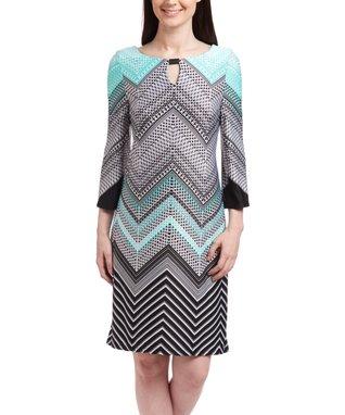 Shelby & Palmer Black & Aqua Chevron Tunic Dress - Women