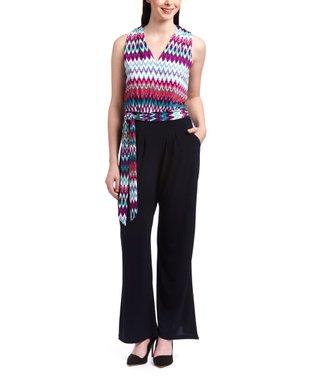 Shelby & Palmer Coral & Black Spot Tie-Waist Jumpsuit - Women