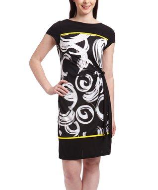 Shelby & Palmer Black & White Swirl Tie-Waist Shift Dress - Women