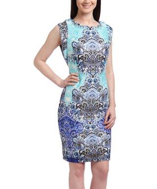 Shelby & Palmer Aqua & Blue Paisley Bodycon Dress - Women
