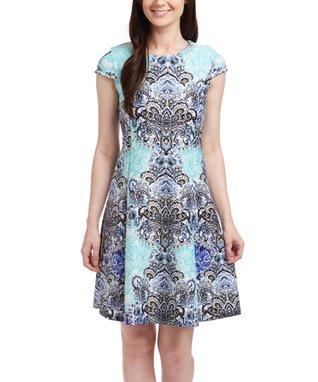 Shelby & Palmer Aqua & Blue Paisley Cap-Sleeve Dress - Women