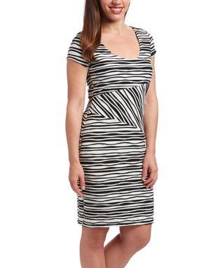 Wall Street Fuchsia Swirl Keyhole Fit & Flare Dress - Women