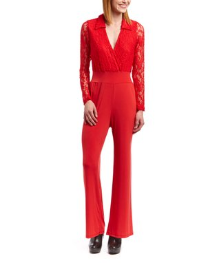 Wall Street White Lace Collared V-Neck Jumpsuit - Women