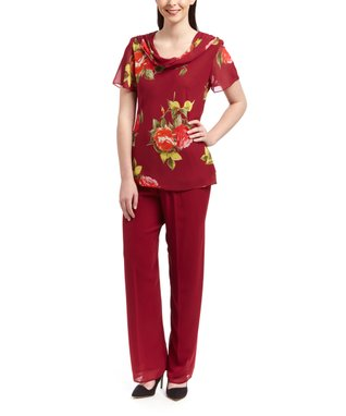Wall Street Burgundy Floral Cowl Neck Top & Red Pants - Women & Plus