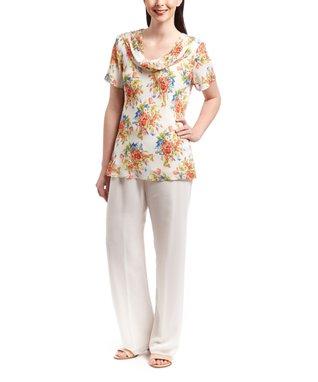 Wall Street Off-White Floral Cowl Neck Top & White Pants - Women & Plus