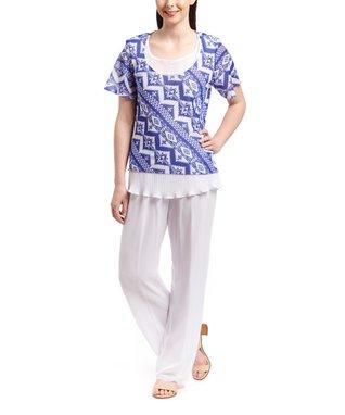 Wall Street Royal Geometric Scoop Neck Top & White Pants - Women & Plus