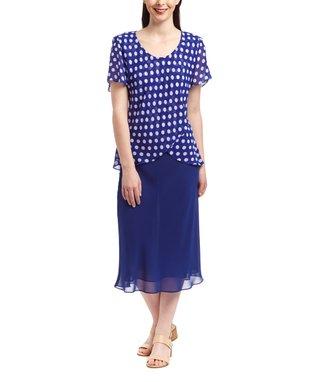 Wall Street Royal Polka Dot Surplice Top & Skirt - Women & Plus