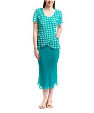 Wall Street Blue Floral Scoop Neck Top & Skirt - Women & Plus