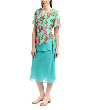 Wall Street Turquoise Floral Scoop Neck Top & Skirt - Women & Plus