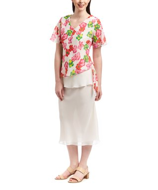 Wall Street White Floral Scoop Neck Top & Skirt - Women & Plus