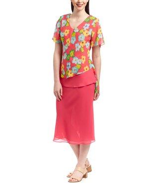 Wall Street Light Aqua Floral Scoop Neck Top & Coral Skirt - Women & Plus