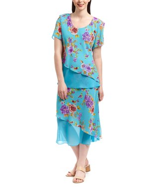 Wall Street Aqua Floral Scoop Neck Top & Skirt - Women & Plus