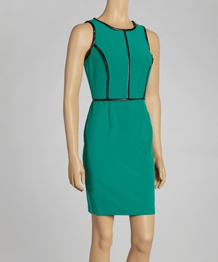 Shelby & Palmer Emerald Contrast Seam Sheath Dress