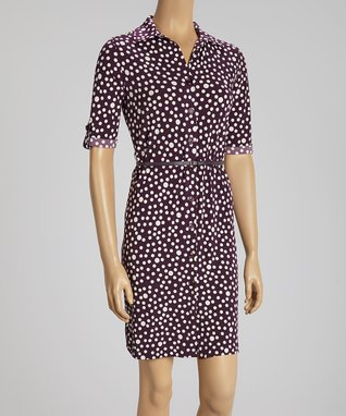 Shelby & Palmer Eggplant & Off-White Button-Up Dress