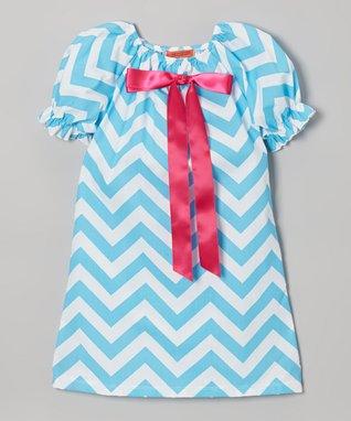 Yellow Chevron Puff-Sleeve Swing Dress - Toddler & Girls