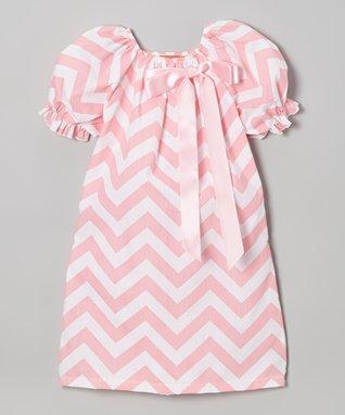 Pink Chevron Puff-Sleeve Swing Dress - Toddler & Girls