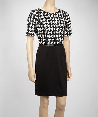 Shelby & Palmer Black & Ivory Houndstooth Dress