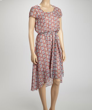 Shelby & Palmer Jade & Pink Arabesque Tie-Waist Hi-Low Dress