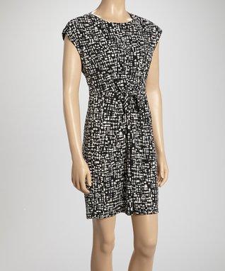 Shelby & Palmer Black & White Tie-Waist A-Line Dress