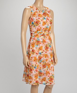 Shelby & Palmer Peach Floral Fit & Flare Dress