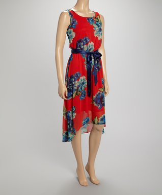 Shelby & Palmer Red & Navy Floral Blouson Dress