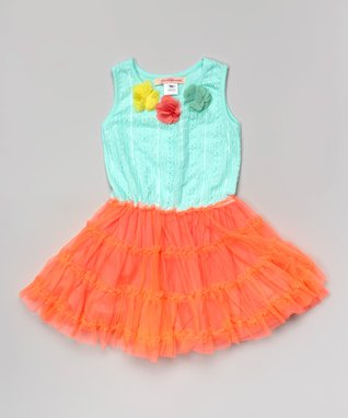Mint & Orange Flower Pettidress - Toddler & Girls